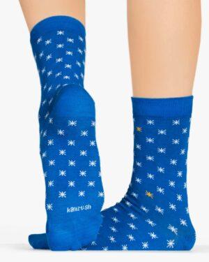 جوراب نخی ساق دار طرح ستاره - آبی - پشت