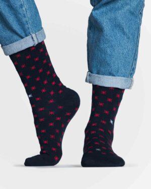جوراب نخی ساق دار طرح ستاره - سرمه ای تیره - رو به رو