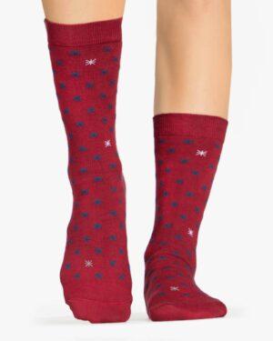 جوراب نخی ساق دار طرح ستاره - شرابی - رو به رو