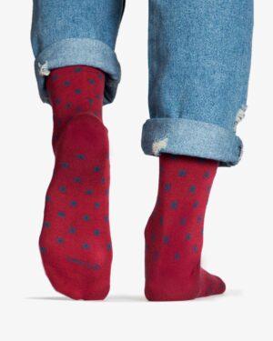 جوراب نخی ساق دار طرح ستاره - شرابی - پشت