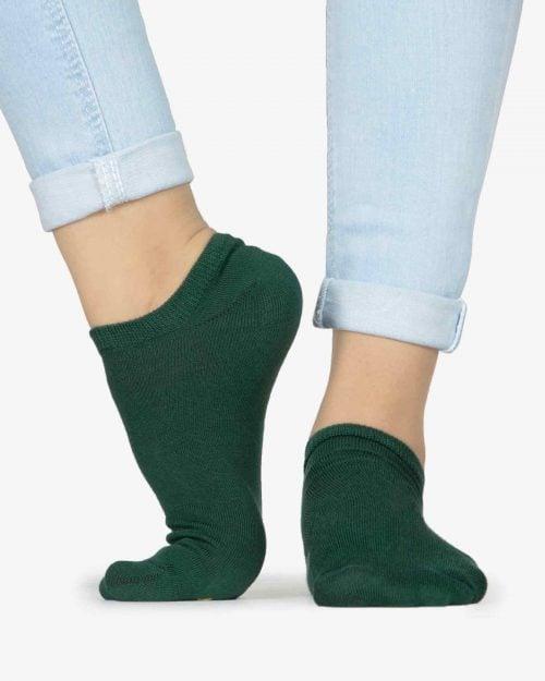 جوراب کالج دخترانه ساده - یشمی پررنگ - بغل