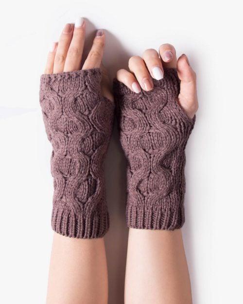 دستکش بافت بدون انگشت کوتاه - قهوه ای روشن - رو به رو