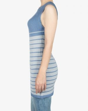 سارافون دخترانه بافت راه راه آستین حلقه ای - آبی روشن - بغل