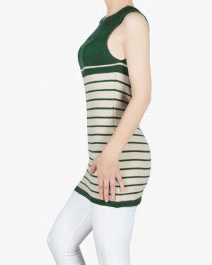 سارافون دخترانه بافت راه راه آستین حلقه ای - سبز تیره - بغل
