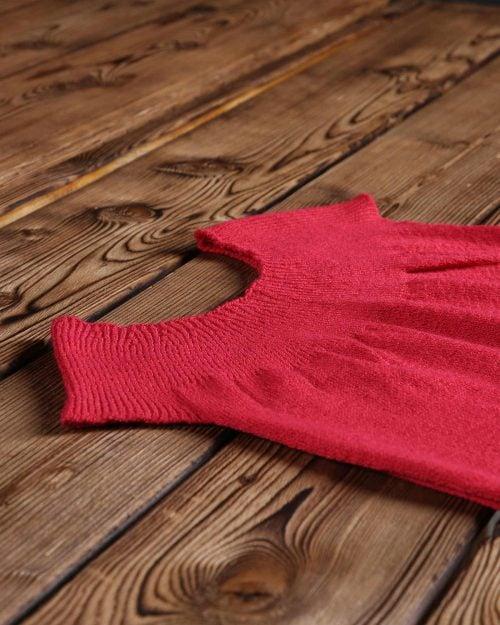 سارافون دخترانه بافت راه راه آستین حلقه ای - قرمز روشن - بافت