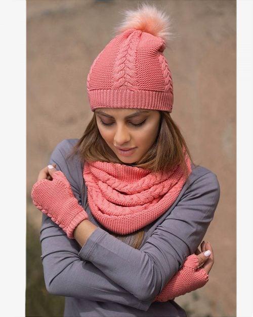ست کلاه و شال گردن و دستکش بافتنی ساده - هلویی سیر - محیطی زنانه