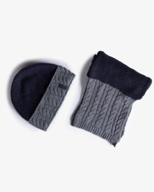 شال و کلاه بافتنی دو رنگ - سرمه ای تیره - محصول