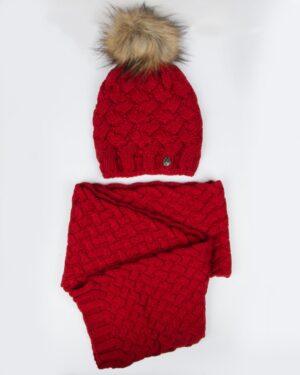شال گردن و کلاه بافت طرح حصیری - قرمز - رو به رو