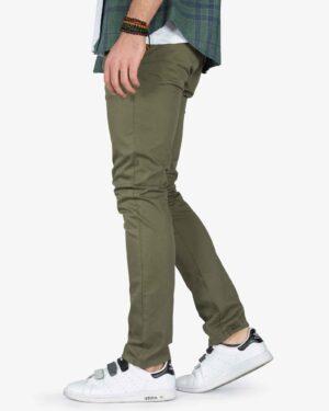 شلوار کتان مردانه اسپرت سبز - زیتونی سیر - بغل