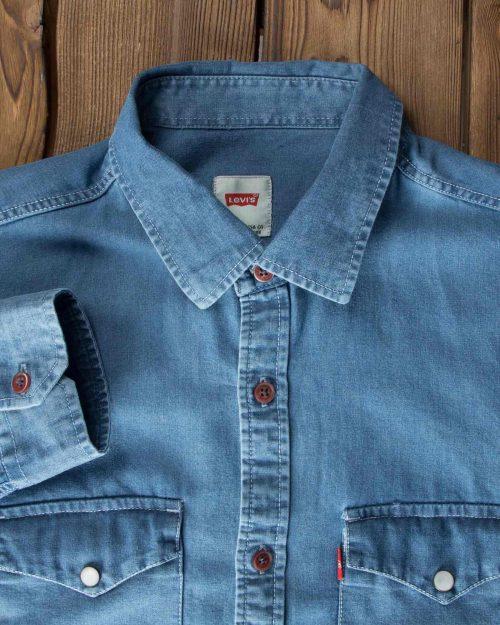 پیراهن جیب دار جین مردانه - نیلی - یقه مردانه