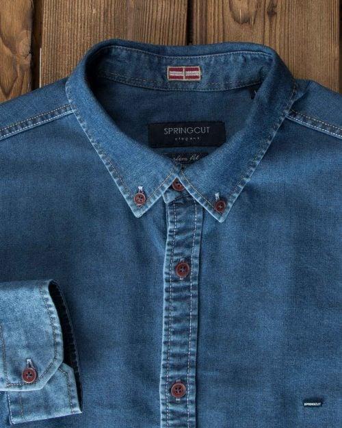 پیراهن جین آبی تیره آستین بلند - آبی تیره - یقه مردانه
