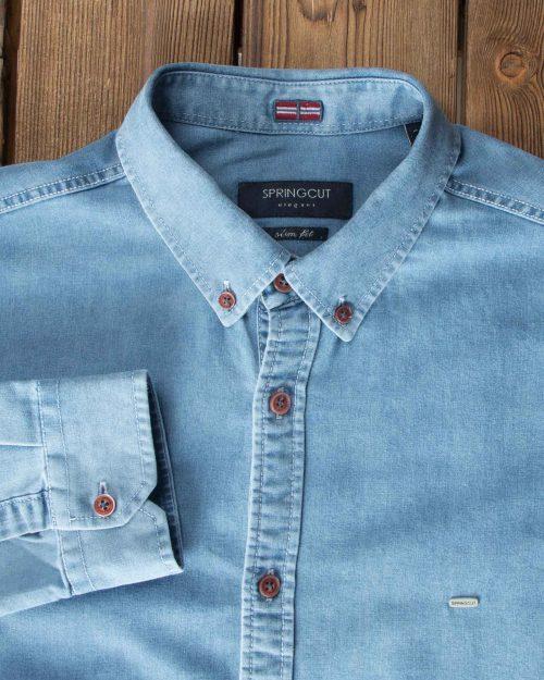 پیراهن جین آبی روشن مردانه - آبی روشن - آستین یقه مردانه