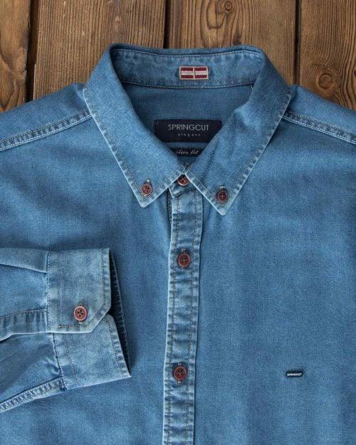 پیراهن جین اسپرت مردانه - آبی - آستین یقه مردانه