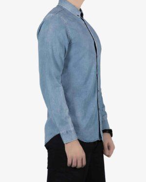 پیراهن جین اسپرت مردانه - آبی - بغل