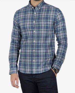 پیراهن مردانه طرح چهارخانه پشمی - آبی نفتی - رو به رو