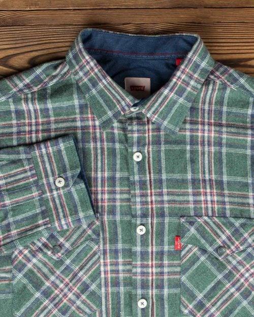 پیراهن مردانه طرح چهارخانه پشمی جیب دار - سبز تیره - آستین یقه مردانه
