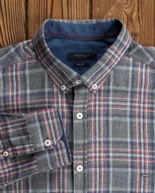 پیراهن مردانه طرح چهارخانه پشمی - خاکستری - آستین یقه مردانه
