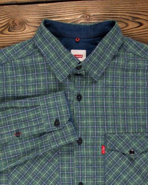 پیراهن مردانه چهارخانه ریز - سبز تیره - یقه مردانه