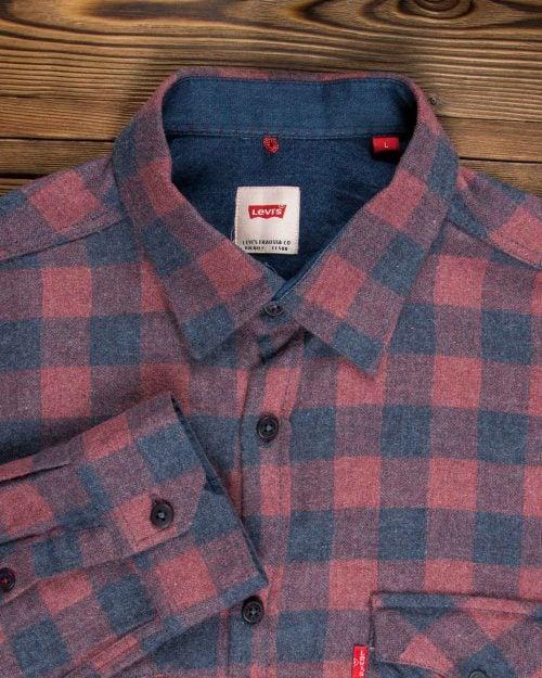 پیراهن مردانه چهارخانه قرمز سرمه ای پشمی - قرمز روشن - آستین یقه مردانه