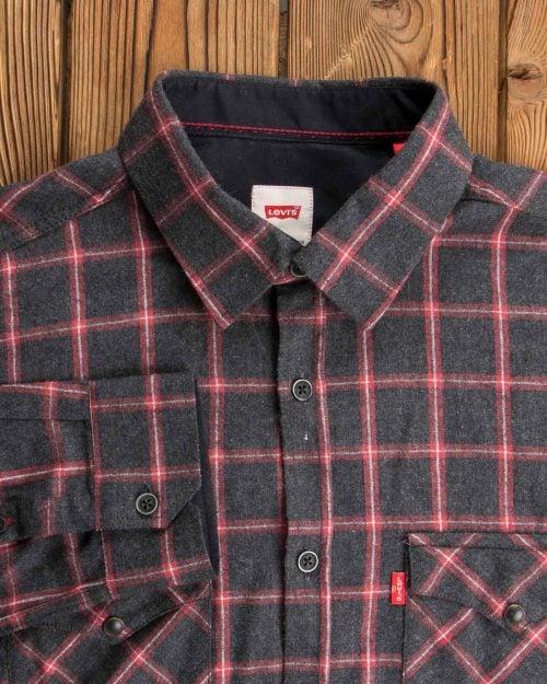 پیراهن مردانه چهارخانه مشکی پشمی - مشکی - آستین یقه مردانه
