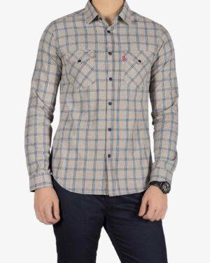 پیراهن مردانه چهارخانه کرم - کرمی سیر - رو به رو