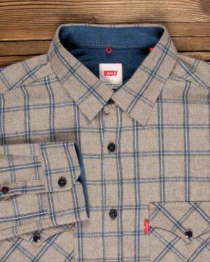 پیراهن مردانه چهارخانه کرم - کرمی سیر - یقه مردانه