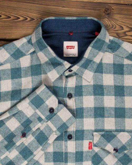 پیراهن پشمی مردانه چهارخانه سفید سبز آبی - سبز آبی تیره - آستین یقه مردانه