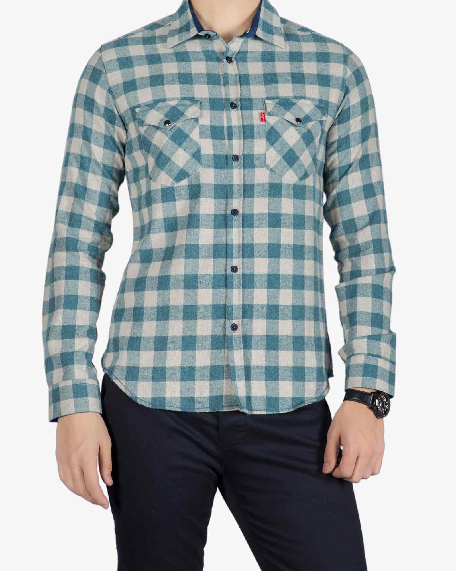 پیراهن پشمی مردانه چهارخانه سفید سبزآبی |