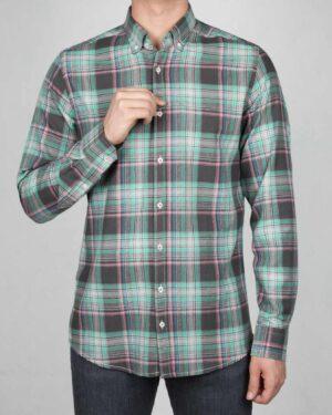 پیراهن-چارخونه-مردانه-سبز-دریایی-روبه-رو
