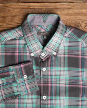 پیراهن-چارخونه-مردانه-سبز-دریایی-یقه