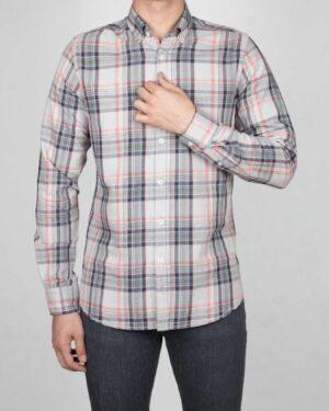 پیراهن-چارخونه-مردانه-طوسی-کمرنگ-روبه-رو