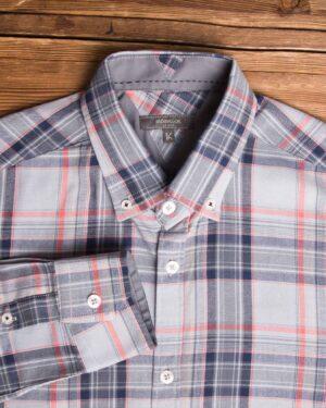 پیراهن-چارخونه-مردانه-طوسی-کمرنگ-یقه