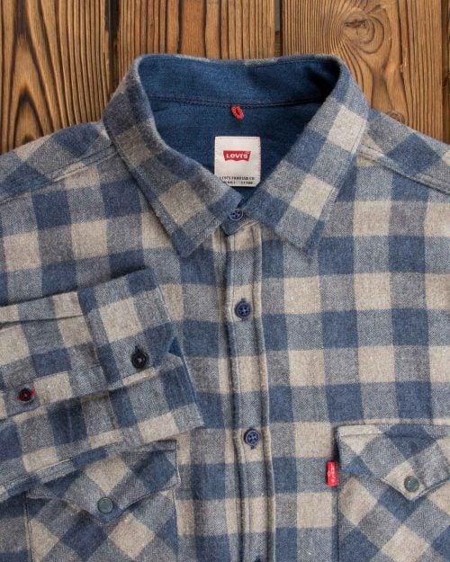 پیراهن چهارخانه آبی سفید مردانه پشمی - سربی - آُستین یقه مردانه