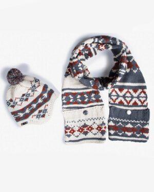 کلاه شال گردن جیب دار طرح دار - دودی - محصول