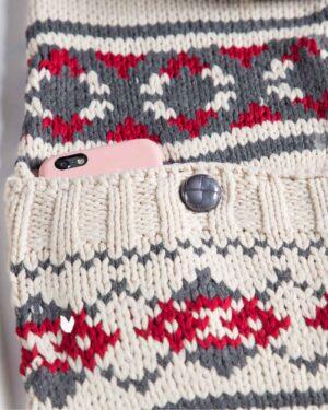 کلاه شال گردن جیب دار طرح دار - زرشکی - محصول
