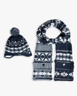 کلاه شال گردن جیب دار طرح دار - سرمه ای تیره - محصول