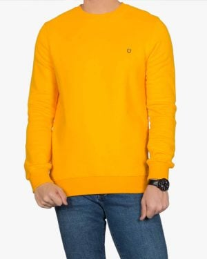 بلوز پنبه ای آستین بلند زرد مردانه - عسلی - رو به رو