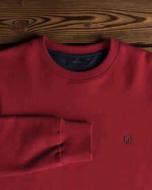 بلوز پنبه ای قرمز مردانه - زرشکی - آستین یقه
