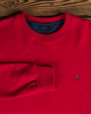 بلوز پنبه ای قرمز مردانه - قرمز روشن - آستین یقه