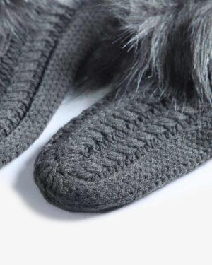 جوراب بافت کوتاه خزدار - سربی تیره - جوراب بافتنی