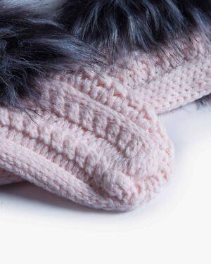 جوراب بافت کوتاه خزدار - صورتی - جوراب بافتنی