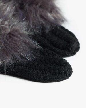 جوراب بافت کوتاه خزدار - مشکی - جوراب بافتنی