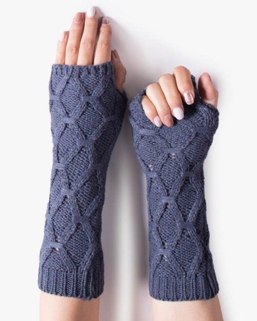 دستکش بافت بدون انگشت بلند - سربی تیره - رو به رو