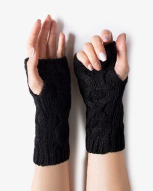 دستکش بافت بدون انگشت کوتاه - مشکی - رو به رو