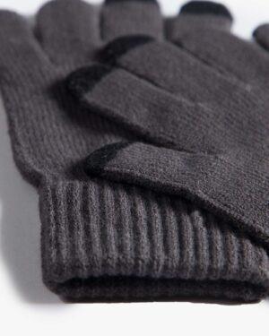 دستکش بافت زمستانی نخی کشی - خاکستری تیره - دستکش بافتنی