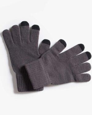 دستکش بافت زمستانی نخی کشی - خاکستری تیره - رو به رو