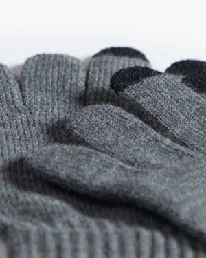 دستکش بافت زمستانی نخی کشی - دودی - دستکش بافتنی