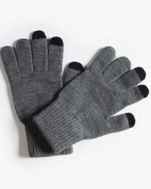 دستکش بافت زمستانی نخی کشی - دودی - رو به رو