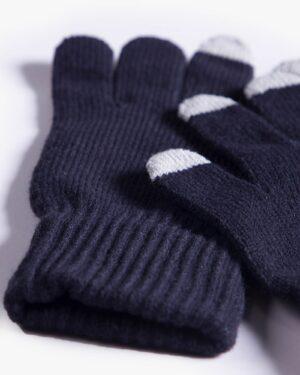 دستکش بافت زمستانی نخی کشی - سرمه ای تیره - دستکش بافتنی
