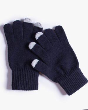 دستکش بافت زمستانی نخی کشی - سرمه ای تیره - رو به رو